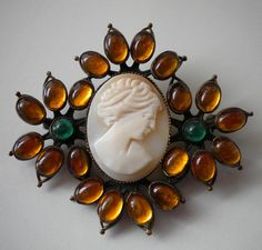 1920's Czech Brooch Cameo Topaz and Green by eclecticappealjewels, $175.00