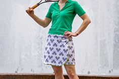 Spoonflower crew member Jamie is back again with another sporty summer garment sewing tutorial. This time she'll teach you how to draft your own tennis skirt pattern and sew it up in a sporty knit fab Skirt Pattern Free, Skirt Patterns Sewing, Free Pattern, Skirt Sewing, Womens Skirt Pattern, Pattern Sewing, Sports Skirts, Golf Skirts, Sewing Clothes