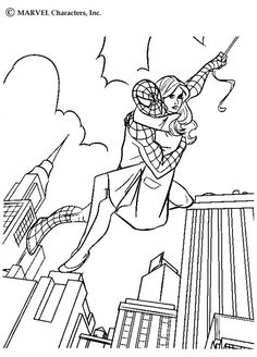 Spiderman Rescues A Woman Coloring For Kids