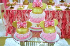 Pink and gold Minnie Mouse birthday party ombre cakes! See more party planning ideas at CatchMyParty.com!