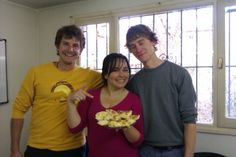Students from Brazil, Switzerland ans USA baking Argentine cookies!