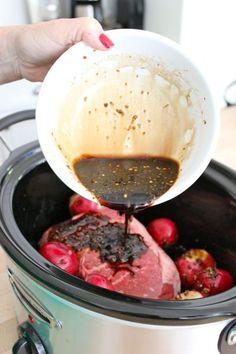 Slow Cooker Balsamic Pot Roast ~ 4–5 Lbs Beef Chuck Roast • 2C Beef Broth •  ¼C Balsamic Vinegar • 1T Soy Sauce • 1t Salt • ¼t Red Pepper Flakes • 3 Garlic Cloves • Red Potatoes