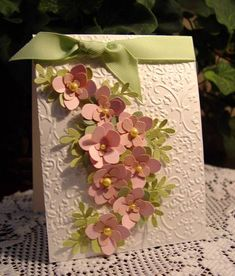 Stamps: Inside- Happy Birthday (from Michael's dollar bin)   Paper: White WC, Pretty in Pink, Soft Pink Bazzill, Celery Bazzill   Ink: Pretty in Pink   Accessories: MS Flower punches, EK Leaf Punch, Pearls, CB, Celery Ribbon