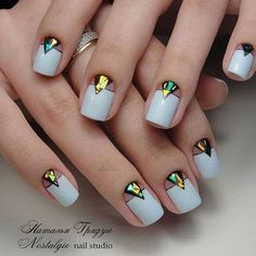White holographic nails #nails