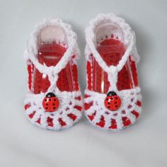 Lady Bug Sandals Baby Shoes Booties with by threekittensknitting, $10.00
