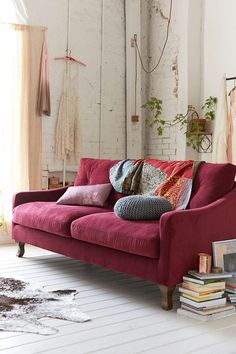 URBAN OUTFITTERS BURGUNDY SOFA