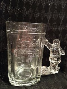 Vintage Clear Glass Santa Coca cola Mug Stein by TheRainyDayShop