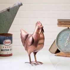 Copper Farmhouse Hen - Country Home Accent Chicken Decor