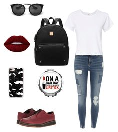 """""""THERES ALWAYS LIPSTICK"""" by x-julia ❤ liked on Polyvore featuring Prada, River Island, Casetify, Dr. Martens, Lime Crime and RE/DONE"""