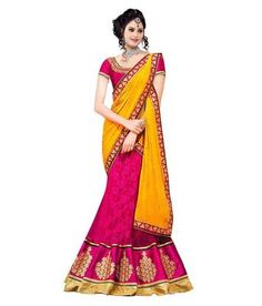 pink and golden net embroidered unstitched bridal lehengas