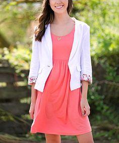 Love this White & Pink Floral Cuff Linen-Blend Blazer on #zulily! #zulilyfinds