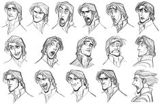 character expression sheet | Flynn Rider (Students: keep these expression sheets in mind when doing ...