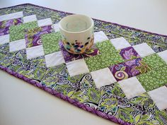 Echoes Table Runner  Quilted Patchwork Runner  by Jambearies