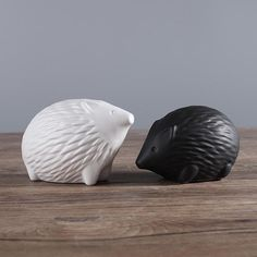 minimalist modern hedgehogs black white figurines statues