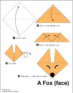 Origami Easy Foxes To Draw - Bunny origami for kids. Here is a list of easy origami that anyone can have fun making. Origami Fox Face Easy Origami For Kids Origami Instructions To. Origami Ball, Instruções Origami, Easy Origami Flower, Origami Fish, Useful Origami, Origami Design, Origami Folding, Simple Oragami, Origami Duck