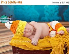 SALE Candy Corn Hat, Diaper Cover & Leg Warmers Outfit - Baby Newborn Girl Boy Costume Halloween Preemie Christmas Thanksgiving Photo Prop W