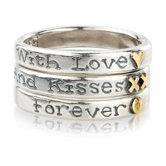 'with love and kisses forever' ring trio by nick hubbard jewellery | notonthehighstreet.com £425