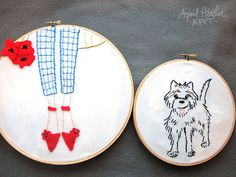 Dorothy and Toto embroidery pattern PDF by aprilheatherart on Etsy