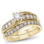 Angelina, 14K Yellow Gold Diamond Bridal Set, 1.00 ctw.