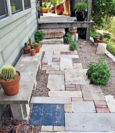 Daily trips to the shed or compost pile take a toll on your lawn, so replace trodden-down grass with gravel, stepping stones or pavers. Or use an eclectic mix of found materials, says Lawn Gone! author Pam Penick.