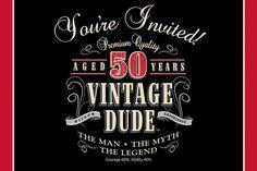 Vintage Dude Invitation, 50th (48/case)