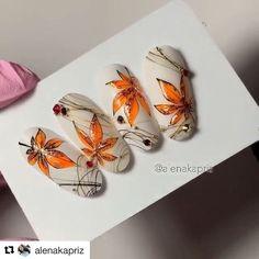 Do you like nail art? Fall Acrylic Nails, Autumn Nails, Nail Manicure, Gel Nails, Cute Nails, Pretty Nails, Nail Art Wheel, Romantic Nails, Long Nail Art