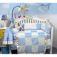 New Blue Minky Dot Chenille Baby Crib Nursery Bedding Set 13 pcs included Diaper Bag with Changing Pad & Bottle Case