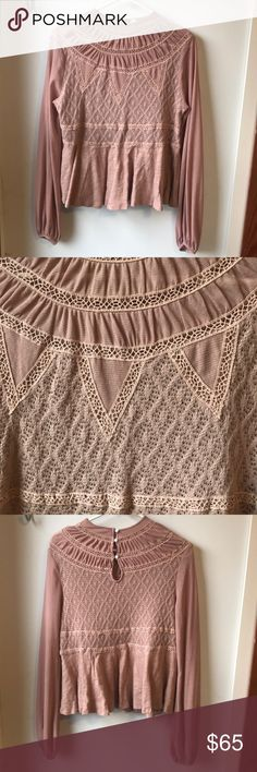 Belle sleeved blush lace Free People top This is a beautiful high necked shirt from Free People. It features lace textures and abalone shell details. Only worn a few times. Free People Tops
