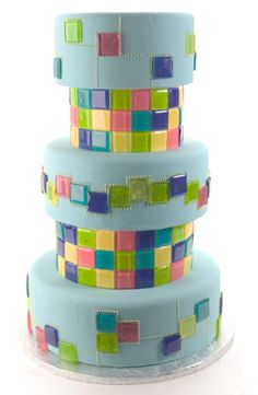 Bright Mosaic Tile Tiered Cake