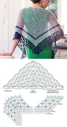 Delicate shawl CROCHET, free chart, wrap, #haken, gratis haakschema, omslagdoek, haakpatroon