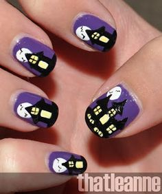 spooky haunted house nail art halloween2 13 Creepiest and Cutest Halloween Manicure Tutorials