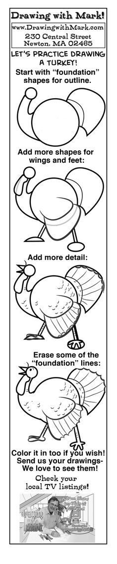 Learn to draw a Thanksgiving turkey!