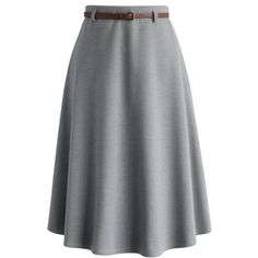 Chicwish Classy Chic Wool-blend A-line Midi Skirt in Grey ($45) ❤ liked on Polyvore featuring skirts, grey, grey a line skirt, wool blend skirt, a line skirt, gray midi skirt and knee length a line skirt