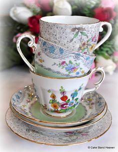 mismatched vintage china teacups