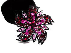 New Listings Daily - Follow Us for UpDates -  Description & Style:  Pink & Red Rhinestone Brooch Signed ART - Rhinestones on Black Enamel Flower Setting - #Vintage 1960s Abstract Flowers Pin offered by TheJewelSeeker on... #vintage #jewelry #teamlove #etsyretwt ➡️ http://etsy.me/2jkBM6F