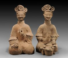 """ANCIENT CHINESE POTTERY   Terracotta,from Sichuan,Tang Dynasty ...note similarity to common """"daisy"""" motif in ancient Mexican and Mayan figures and jewelry"""