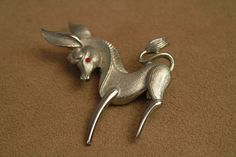 Vintage 60s Donkey Pin    1960s Figural Brooch   by ladyscarletts