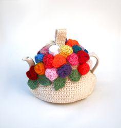Crochet teapot cozy handmade tea cosy spring flowers in by jarg0n