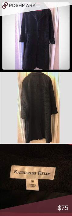 Katherine Kelly Long alpaca fur coat Great condition preowned Katherine Kelly long black coat 57% alpaca  43% wool   Size 10  Dry clean only  Armpit to wrist 17 inches  Top of the logo on the inside jacket to the bottom of the jacket 50.5 inches katherine Kelly Jackets & Coats