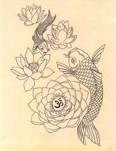 Japanese Fish Om Lotus Tattoo Drawing Art Print by GenieMelisande – Tattoo Sketches & Tattoo Drawings Fish Drawings, Tattoo Drawings, Art Drawings, Drawing Art, Tattoo Sketches, Tattoo Ink, Body Art Tattoos, Small Tattoos, Ankle Tattoos