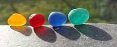 4 Stunning Pieces of Rarest/Rare Seaham Sea Glass by