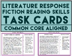 Fiction Reading Skills Task Cards: Comprehension Skill Review: 10 half-page fiction task cards with 4 comprehension questions and tasks on EACH card for a total of 40 fiction reading comprehension questions (aligned with Common Core Standards for grades 3-8) Perfect for Literature response or reading response activities and literacy center ideas  #fictiontaskcards #readingskillstaskcards