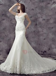 AdoreWe - TideBuy Eye-catching Beaded Cap Sleeves Backless Mermaid Lace Wedding Dress - AdoreWe.com