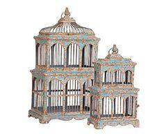 Set de 2 jaulas decorativas de metal - marrón