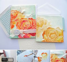 TUTORIAL - distress watercolour dry embossing
