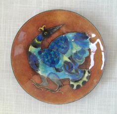 Blue Bird enamel on copper