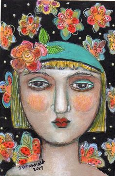mixed media painting girl woman face flowers portrait modern folk art illustration colorful by kittyjujube on Etsy
