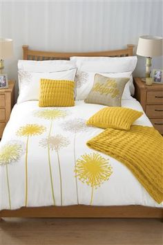 Buy Allium Ochre Bed Set from the Next UK online shop. Like the dandelions and y. Bedroom Color Schemes, Bedroom Colors, Home Decor Bedroom, Bedroom Ideas, Bed Cover Design, Bed Linen Design, Yellow Bedding, Bedding Sets, Yellow Gray Bedroom