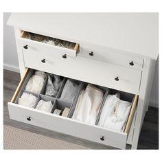 Baby Drawer Organization, Drawer Dividers, Drawer Fronts, Ikea Hemnes Drawers, Dresser Drawers, Chest Of Drawers, Dressers, 6 Drawer Chest, White Chests