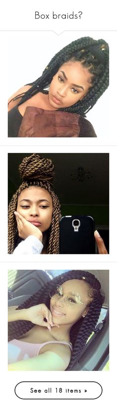 """Box braids"" by msixo ❤ liked on Polyvore featuring hair, doll hair, hairstyles, dolls, doll parts, fillers, people, beauty, models and braids"